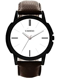 Tarido New Style White Dial Leather Strap Analog Wrist Watch For Men/Boy