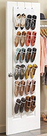 Missofsweet 24 Pockets Hanging Over The Door Shoe Storage Bags, Foldable On Wall Shoe Rack Organiser Wardrobe/Toys Storage Bag -
