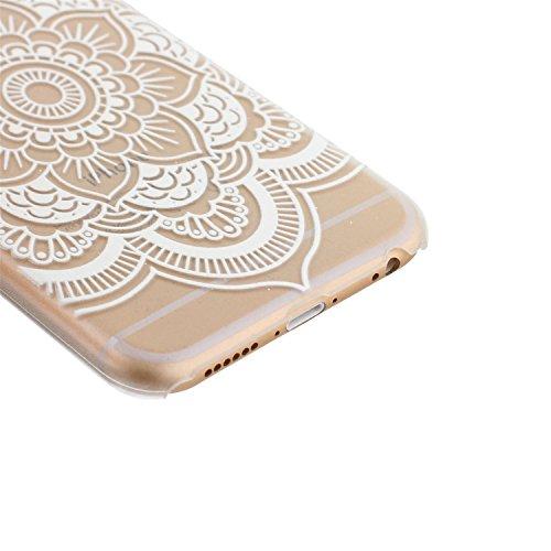 ARTLU® Henna White Floral Paisley Flower Mandala Cuir Coque Strass Case Etui Coque étui de portefeuille protection Coque Case Cas Cuir Swag Pour iphone 5/5S A3 4