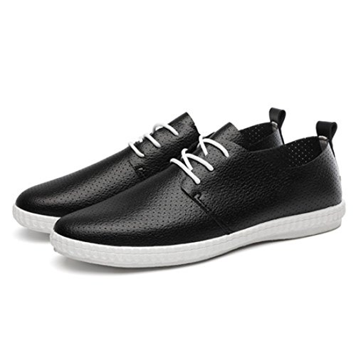 Men's Leather Slip On Lace Up Oxford Shoes Black