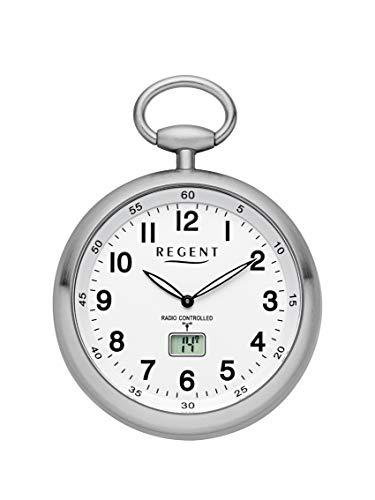 REGENT Funk-Taschenuhr - Zeitloses Accessoire für KULTIVIERTE Herren - Super ablesbar - Material: Stahl - Inklusive Kette (Gehäuse-Ø 49 mm) - C342632 (Weiß)