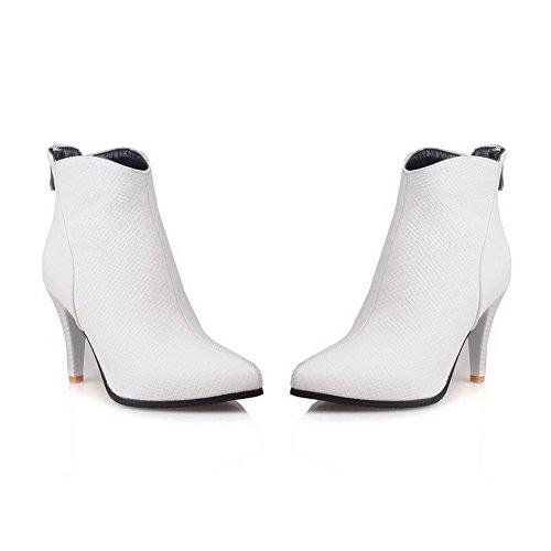 VogueZone009 Donna Tacco Alto Puro Scarpe A Punta Cerniera Stivali con Metallo Bianco