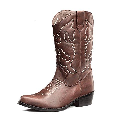 SheSole Damen Stiefel Braun Größe 38 - Mädchen Größe Cowgirl-stiefel 13
