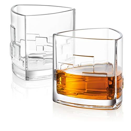JoyJolt Revere Scotch-Gläser, altmodische Whiskygläser, 325 ml, ultraklar, für Bourbon und Likör, 2 Stück 1 Double Old Fashioned