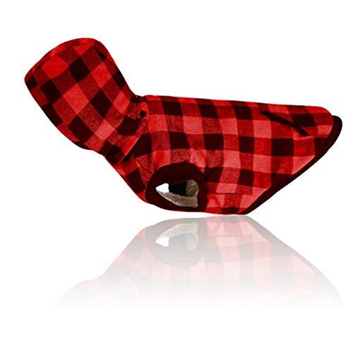 Sforza Haustier Hund Kostüm Plaid Weste, Mode Winddicht Warmen Kaltes Wetter Hundemantel Mit Hoodie Für Medium Large Dog Rot-XXXL (Lila Kostüm Minion Hund)