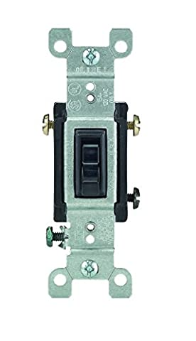 Leviton 1453-2E 15 Amp, 120 Volt, Toggle Framed 3-Way AC Quiet Switch, Residential Grade, Grounding, Quickwire Push-In & Side Wired, Black by Leviton