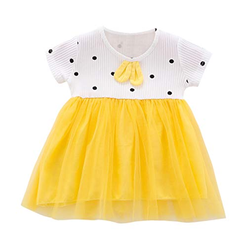 squarex Infant Baby Mädchen Kurzarm Rock Cartoon Ohr Polka Dot Kleid Print Tüll Kleid Prinzessin Kleid Sommer Casual Dress