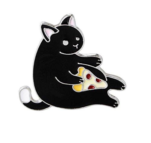 Broschen für Frauen Kleidung Dekoration Schmuck Super süße Tier Katze Essen Pizza Brosche Button Abzeichen (Blakc ()