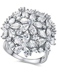 redfly lujo gran flor Cluster 18ct chapado en oro cristal CZ mujeres anillos de cóctel