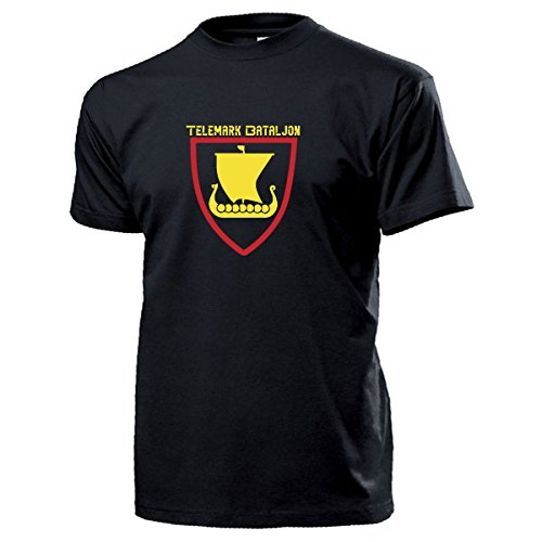 Tele Mark Bataljon Stemma islandese vichinghi nave aquilone Boot fanteria BATTAGLIONE Norvegia Norges forsvar dell'esercito forze armate koelica unità - T-Shirt #17299 nero