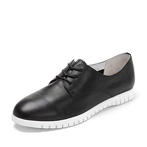 scarpe basse laccio di cuoio stile signora britannici/scarpe casual donne single-B Lunghezza piede=23.8CM(9.4Inch)