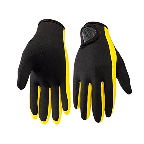 Meijunter 1 Paar Warm Skid-Proof Tauchen Neopren Schnorchel Surfen Wasser Sport Handschuhe weich Color Black w/Yellow (Color Magic-handschuhe)