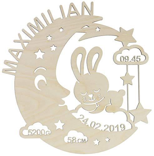 LAUBLUST Schlummerlicht Mond-Hase - Personalisiertes Baby-Geschenk zur Geburt & Taufe - LED Hintergrund-Beleuchtung