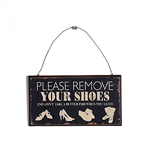 NIKKY HOME Shabby Chic Please Remove Your Shoes Wooden Wall Sign, Black