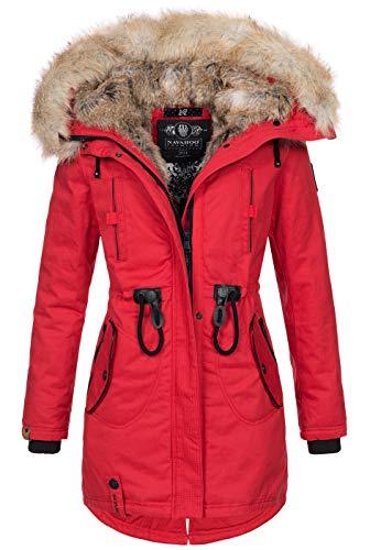 Navahoo warme Damen Winter Jacke lang Kunstfell Winterjacke Parka Mantel B660 [B660-Bomb-Rot-Gr.L]