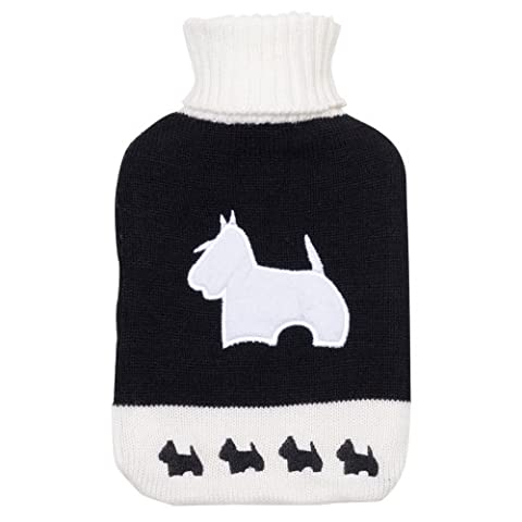 Large Hot Water Bottle With Knitted Black Cover & White Scotty Dog Design