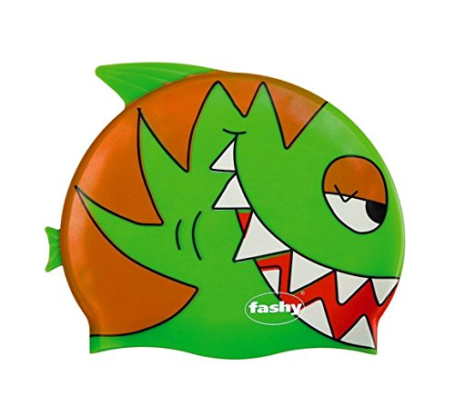 Kinder-Gummi-Badehaube, Motiv: Fisch Hai (Nr. 4 - Grün)