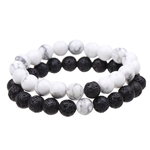 ISHOW Yin Yang Balance Black Lava Rock and White Howlite Stone His and Hers Couple Distance Bracelet (2pcs)