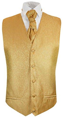Paul Malone Hochzeitsweste + Plastron Gold barock