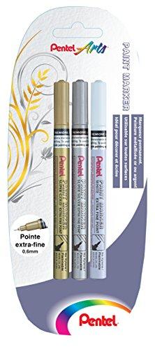 pentel-mfp10x3-xzw-lot-de-3-marqueurs-permanents-pointe-extra-fine-or-argent-blanc