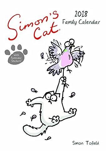 Simon's Cat A3Calendrier familial avec rappel Stickers 2018