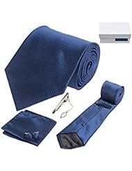 Coffret Cadeau San Francisco - Cravate bleu marine, boutons de manchette, pince à cravate, pochette de costume