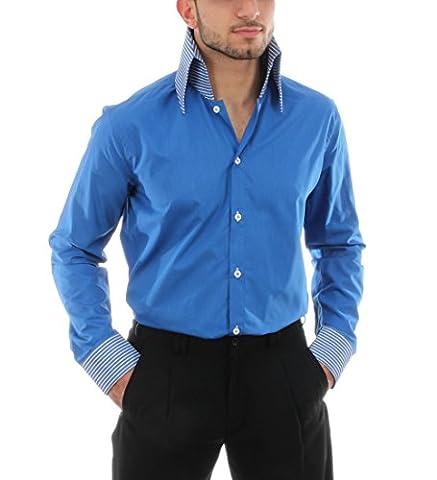 Retro Hemd in Royalblau, für Herren BESTE QUALITÄT, HK Mandel Freizeithemd Kurzarm Slim Fit, E-1 Grösse 3XL
