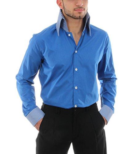 Retro Hemd in Royalblau, für Herren BESTE QUALITÄT, HK Mandel Freizeithemd Kurzarm Slim Fit, E-1 Royalblau