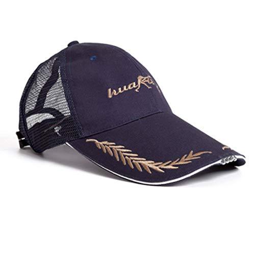 LoveOlvido Mehrzweck-Baseball-Mütze Night Fishing Cap mit Kopf Licht 4 High Brightness LED-Lampe für Outdoor-Radfahren Camping Sonnenhut - Schwarz