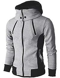 f266e0cc7b3de OSYARD Sweatshirt Homme Coton Hiver Chaud Sweat à Capuche Col Haut Pullover Pulls  Hoodie Manteau