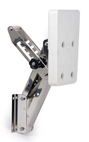 wellenshop Motorhalter Boot Außenborder bis 7 PS 5 Positionen Edelstahl Kunststoff weiß - Kunststoff-heckspiegel