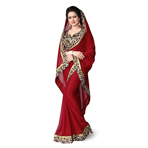 Kjp Villa Women\'s Georgette Maroon Free Size embroidery Saree With Blouse Pics (zeel saree-262)
