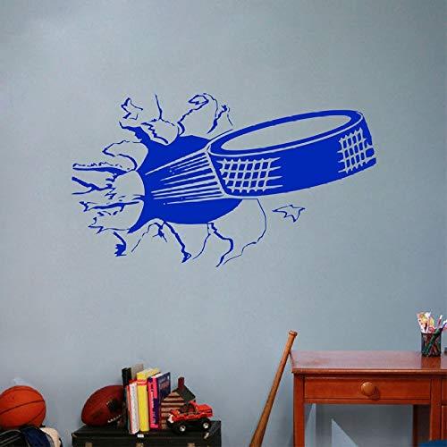 Sport Eishockey Wandkunst Aufkleber, Puck Ripping Platzen Durch Wand Vinyl Wandtattoo Weiß 100 cm x 57 cm -