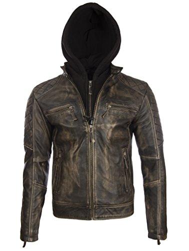 Aviatrix Herren Echtes Leder Vintage Look Biker Mode Jacke Mit Abnehmbare Kapuze