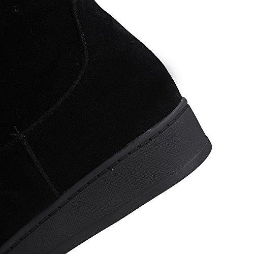 VogueZone009 Femme à Talon Bas Couleur Unie Rond Zip Bottes Noir