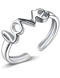 Para mujer Fashion Simple LOVE Letters dedo anillo nudillos para dedo del pie (plata de ley) 1 pc