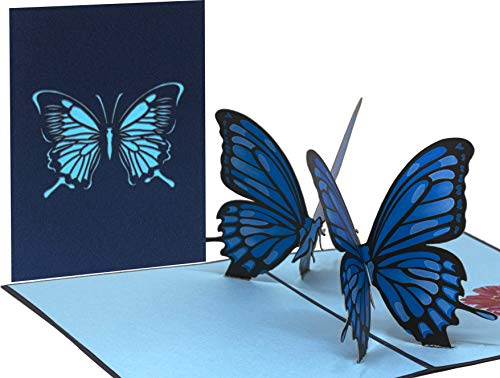 Pop Up 3D Schmetterling-Karte, Glückwunschkarte, Freundschaftskarte, Geschenkkarte, Geburtstagskarte, Überraschungskarte mit zwei Schmetterlingen und roter Rose.(BLAU) Rose 2 Tier