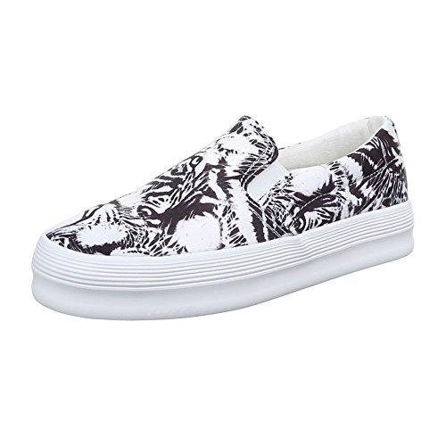 Ital-Design Damen Schuhe, 51131-Y, Halbschuhe Slipper Weiß Schwarz