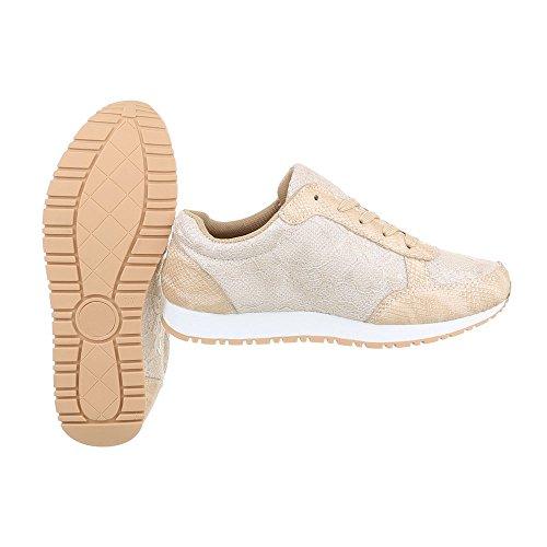 Scarpe da donna Sneaker piatto Sneakers low Ital-Design beige FC-S35
