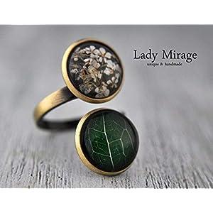 Bestseller – Doppelter Ring Echte Blüten Blatt Verstellbar Messing Vintage Grün weiß Feminin Einzigartig Geschenk für Sie