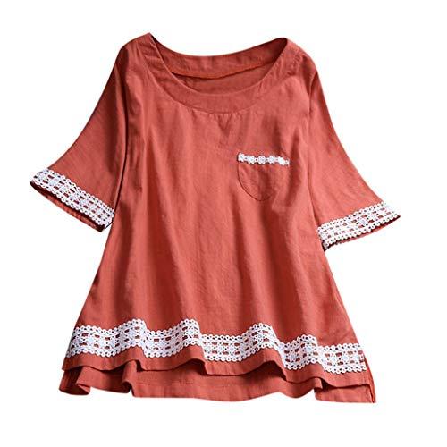 MRULIC Damen Langarm Shirt Beiläufige Lose Baumwolle Frühling Herbst Tops Solide Elegante T-Shirt Freizeithemd(C2-Orange,EU-46/CN-3XL)