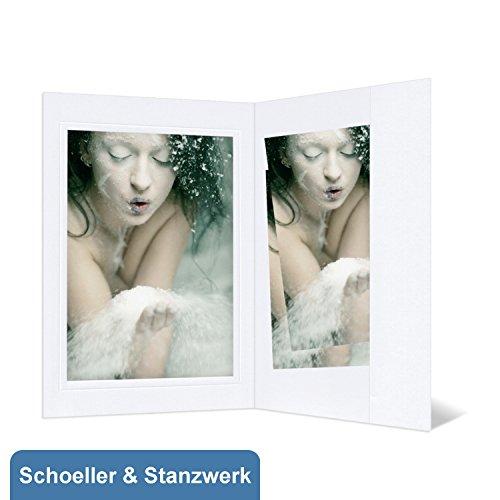 25 Stück Portraitmappen mit Passepartout und Tasche für 13x18 cm Fotos - weiß mit Blindprägung - Schoeller & Stanzwerk