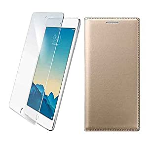 Snoogg Leather Flip Case Cover + Toughened Tempered Glass Protector For LYF Wind 2 LS-6001 Gold 2GB RAM 6 Inches HD Display
