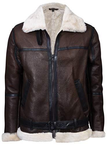 Infinity Leather Herren Marrone Jahrgang Echte Shearling Creme Lammfell Fliegen Lederjacke 5XL