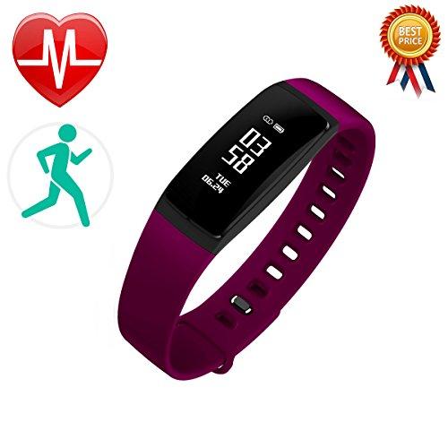 LCM Fitness-Armband, Smart Band, Activity Tracker, misst Herzfrequenz und Blutdruck, funktioniert als Schrittzähler und überwacht unseren Schlaf und die Kalorien S, porpora