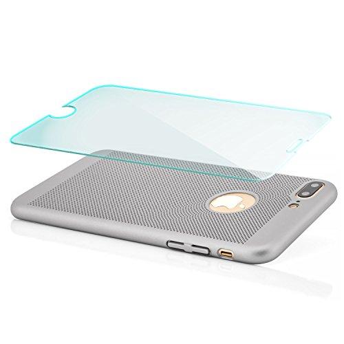 iPhone 7 Hülle + Panzerglas, Premium Schutzhülle Hard Case Ultra Slim Cover Handyhülle | Schwarz Silber