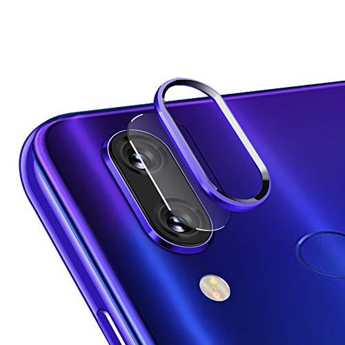 3x Kamera Glas Foie + 2x Kamera Alu Schutzring (Blau) für Xiaomi Redmi Note 7,qichenlu Redmi Note 7 Rückseite Kamera Schutz Set,Linsen Metall Rahmen Klar 6D Willow Glas Kratzfest Kamera Hinten Schutz