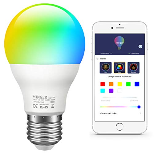 Bombilla RGBW Bluetooth, Minger E27 7W Lámpara Bombilla LED Color Ajustable, Temporizador/Retraso Control de APP, Compatible con IOS, Android Smartphones etc.