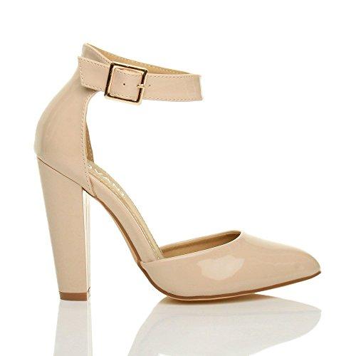 Donna tacco alto blocco cinturino caviglia fibbia punta décolleté scarpe taglia Vernice ecrù neutro