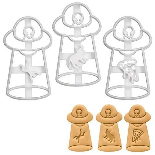 Bakerlogy 3er Set UFO-Entführung Ausstechformen (Formen: Mann, Kuh, Pizza), 3 Teile (An Entführung Halloween)